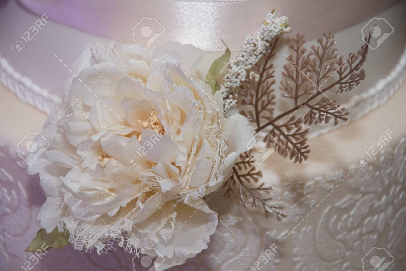 Wedding cake covered with white fondantflowers stock photo picture stock photo wedding cake covered with white fondantflowers mightylinksfo
