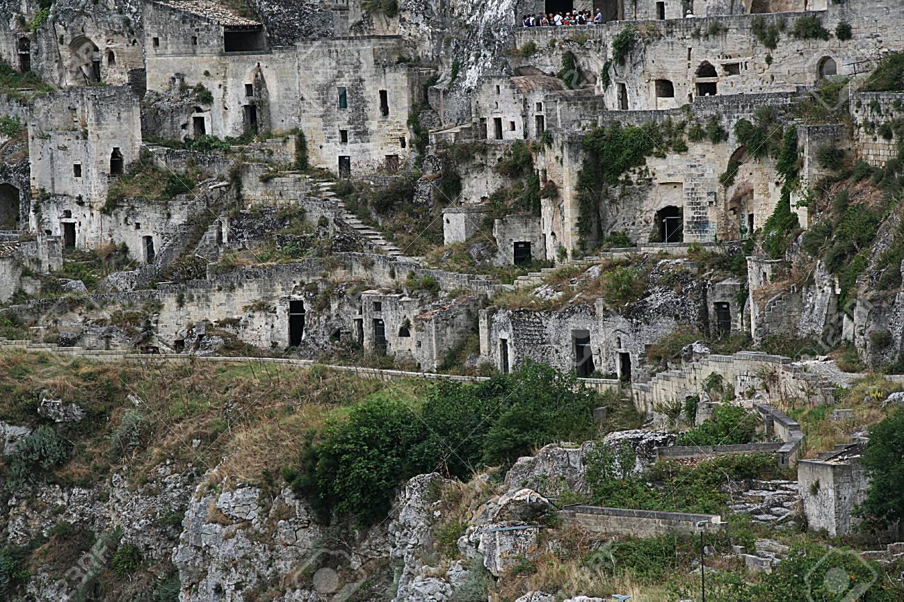 Vista Della Città Di Matera E Pietre Storiche Patrimonio Unesco