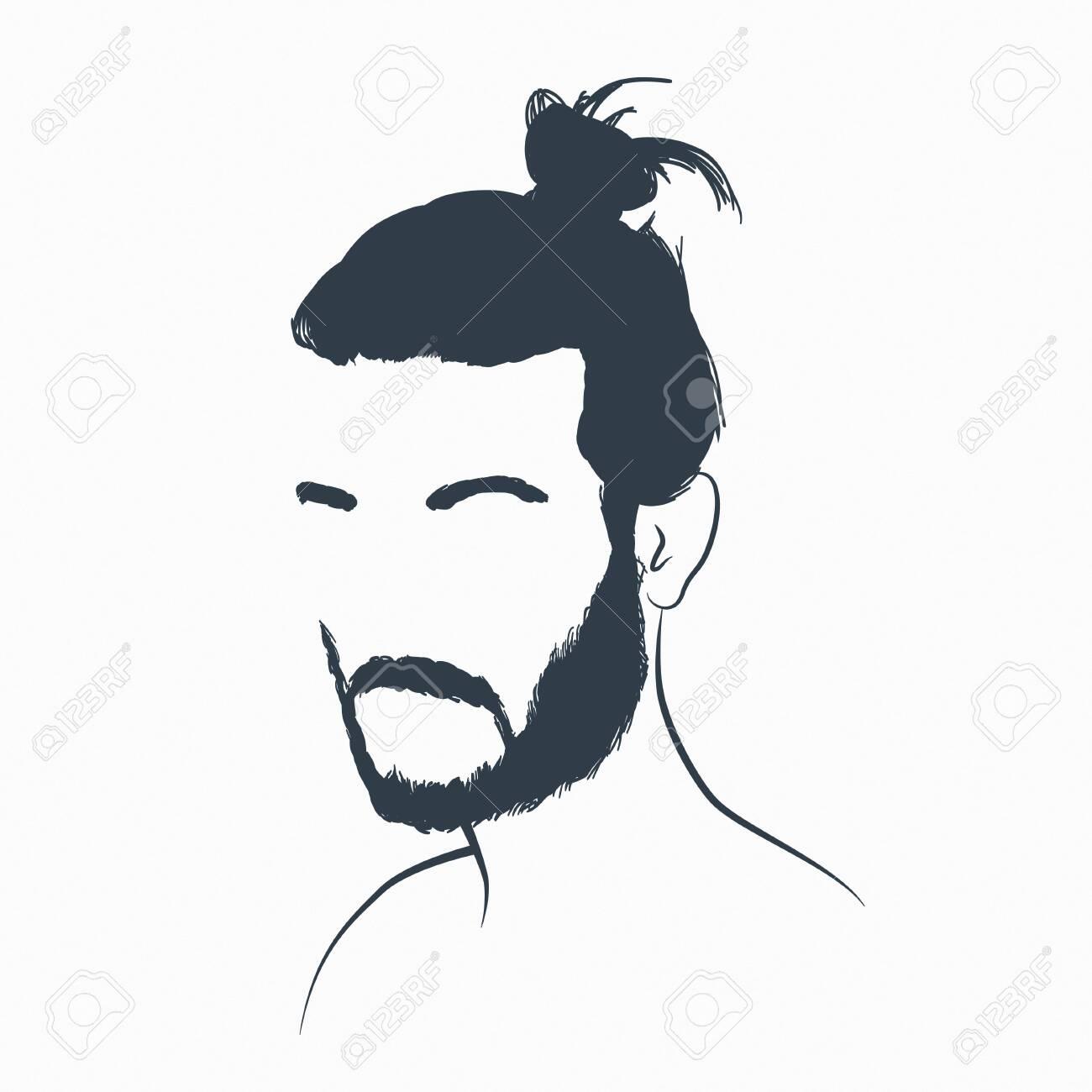 Beard And Bun. Pencil Sketch.. Royalty
