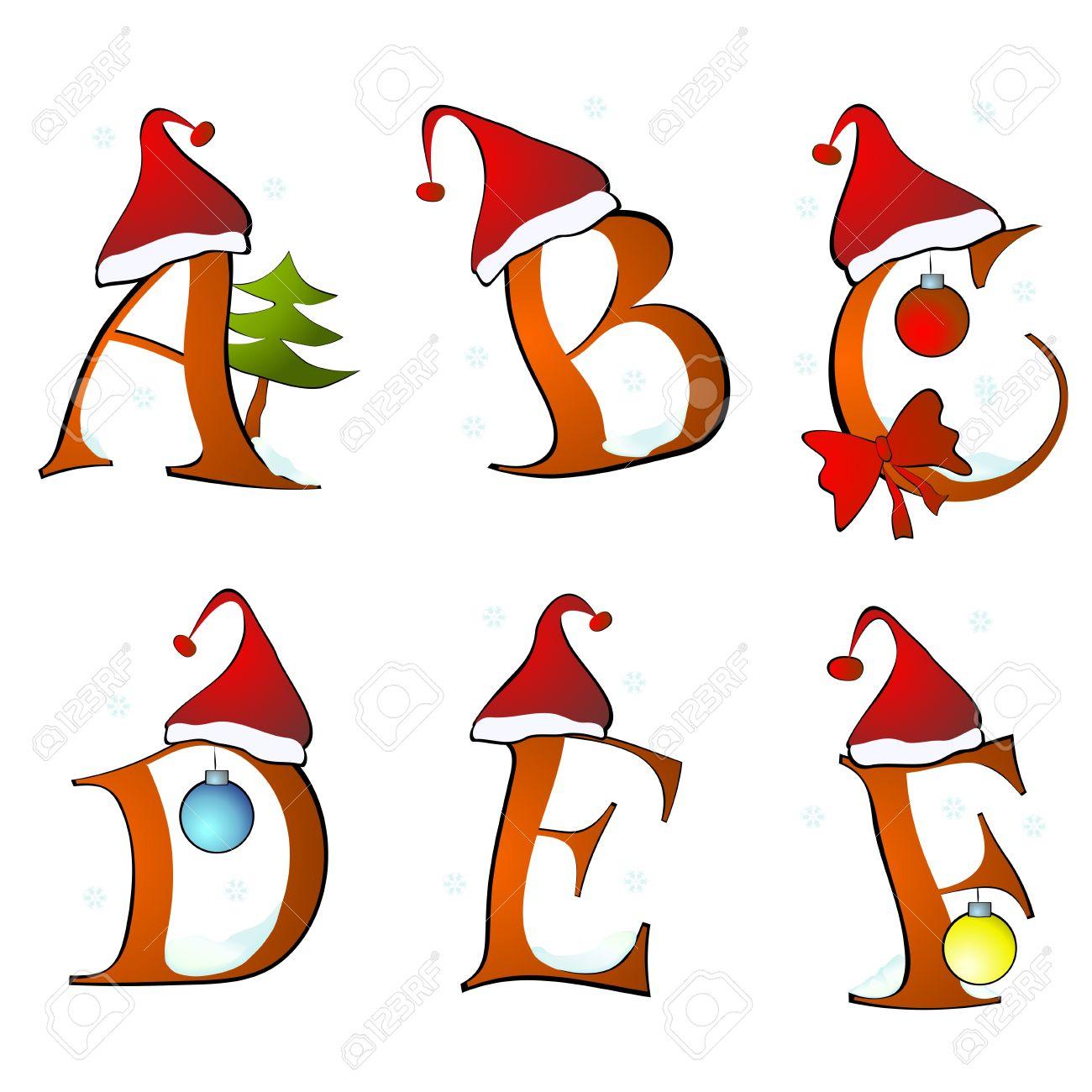 B Font Christmas: Christmas Alphabet Set Letters Winter A F Illustration