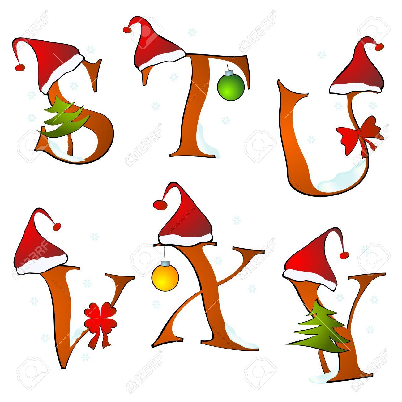 Alphabet Noel alphabet noël ensemble des lettres d'hiver s-y clip art libres de