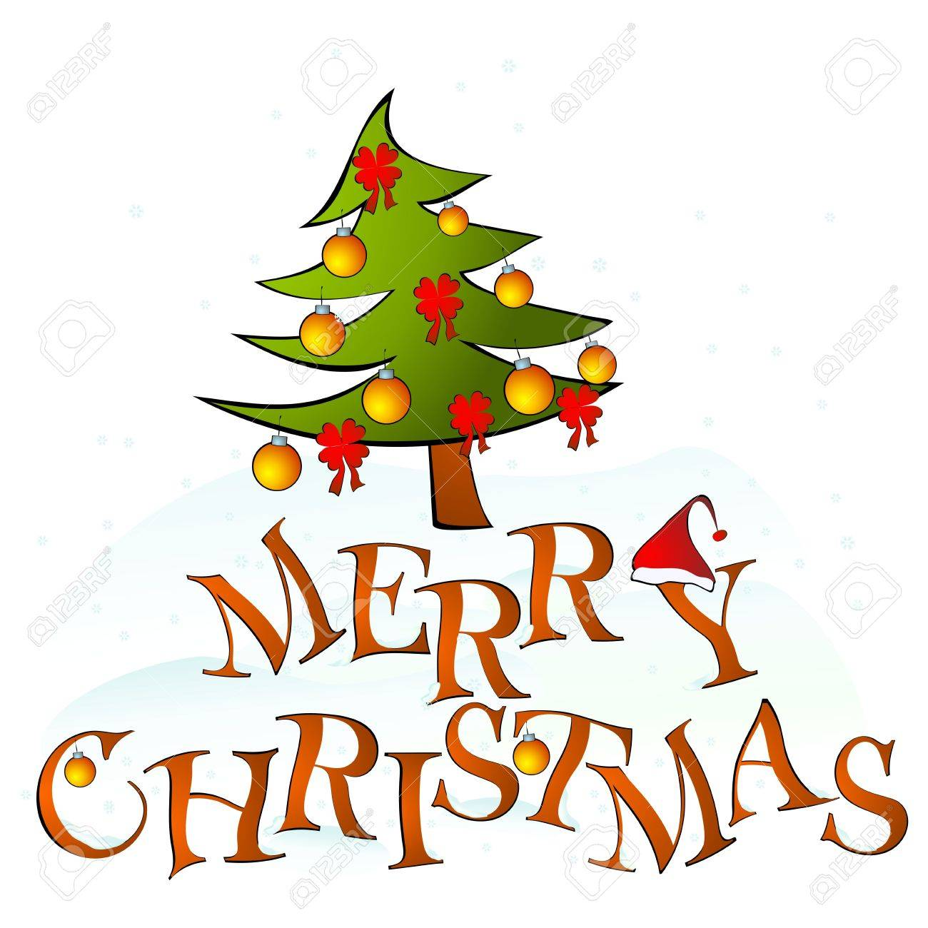 card merry christmas with tree Stock Vector - 11623207