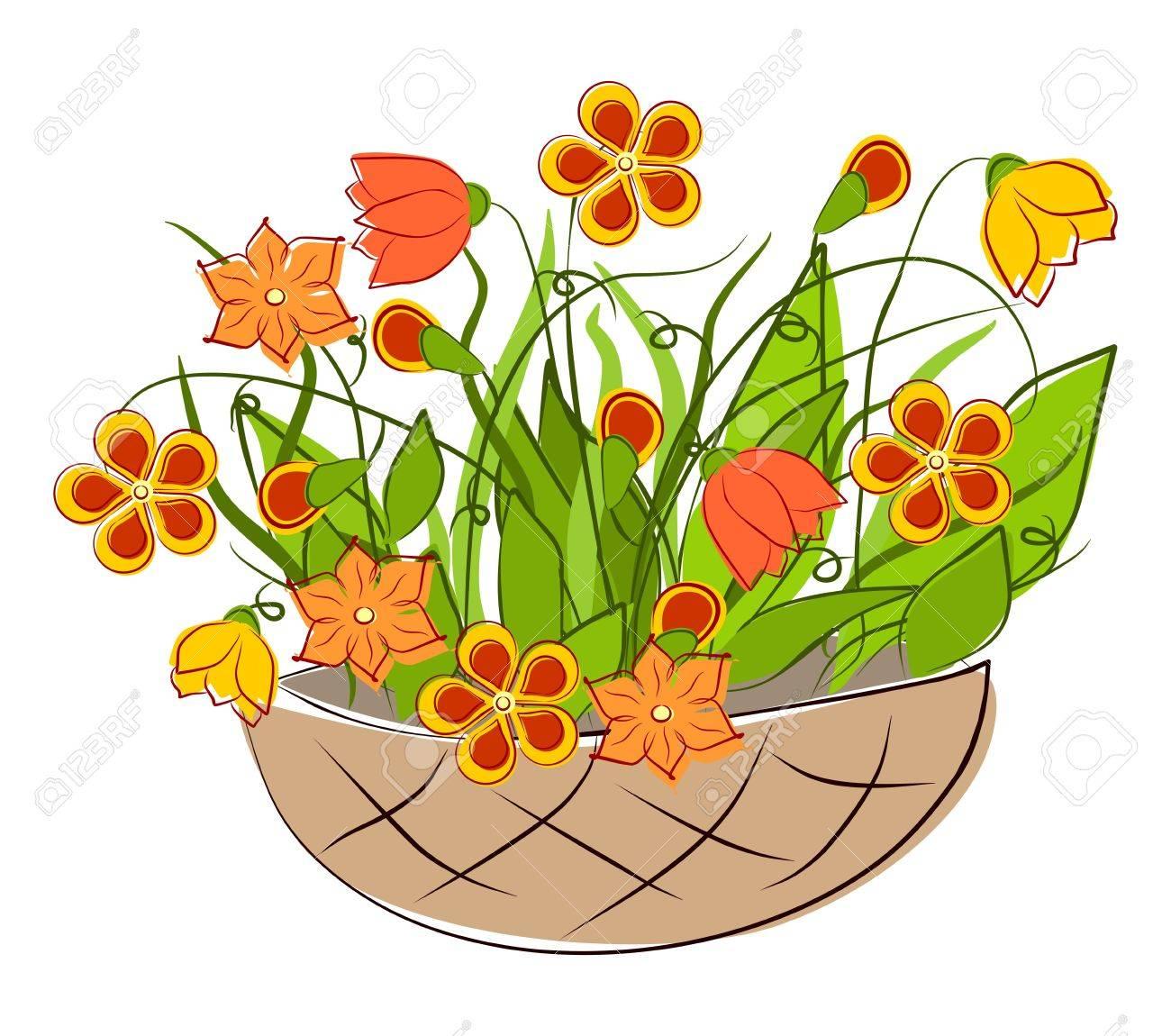 flowers spring basket arrangements royalty free cliparts