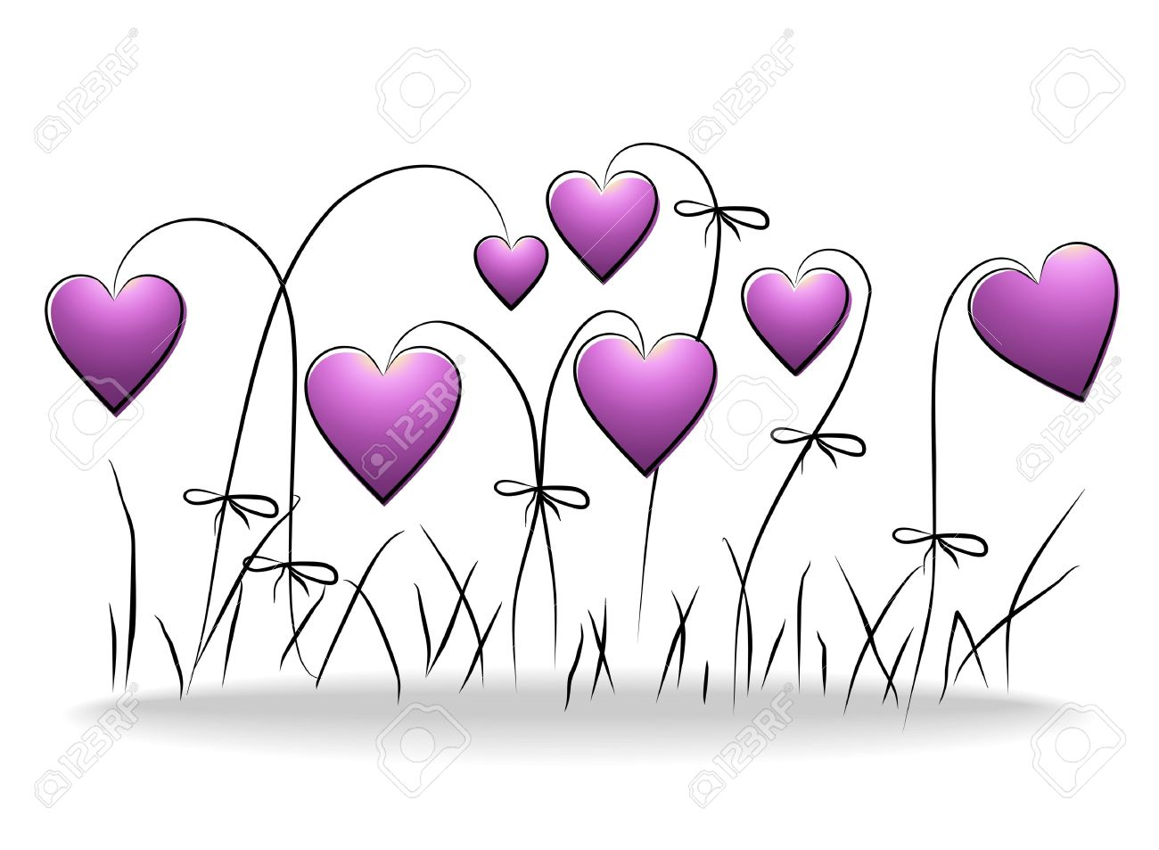 Flowers - romantic floral background with purple hearts Stock Vector - 11623490