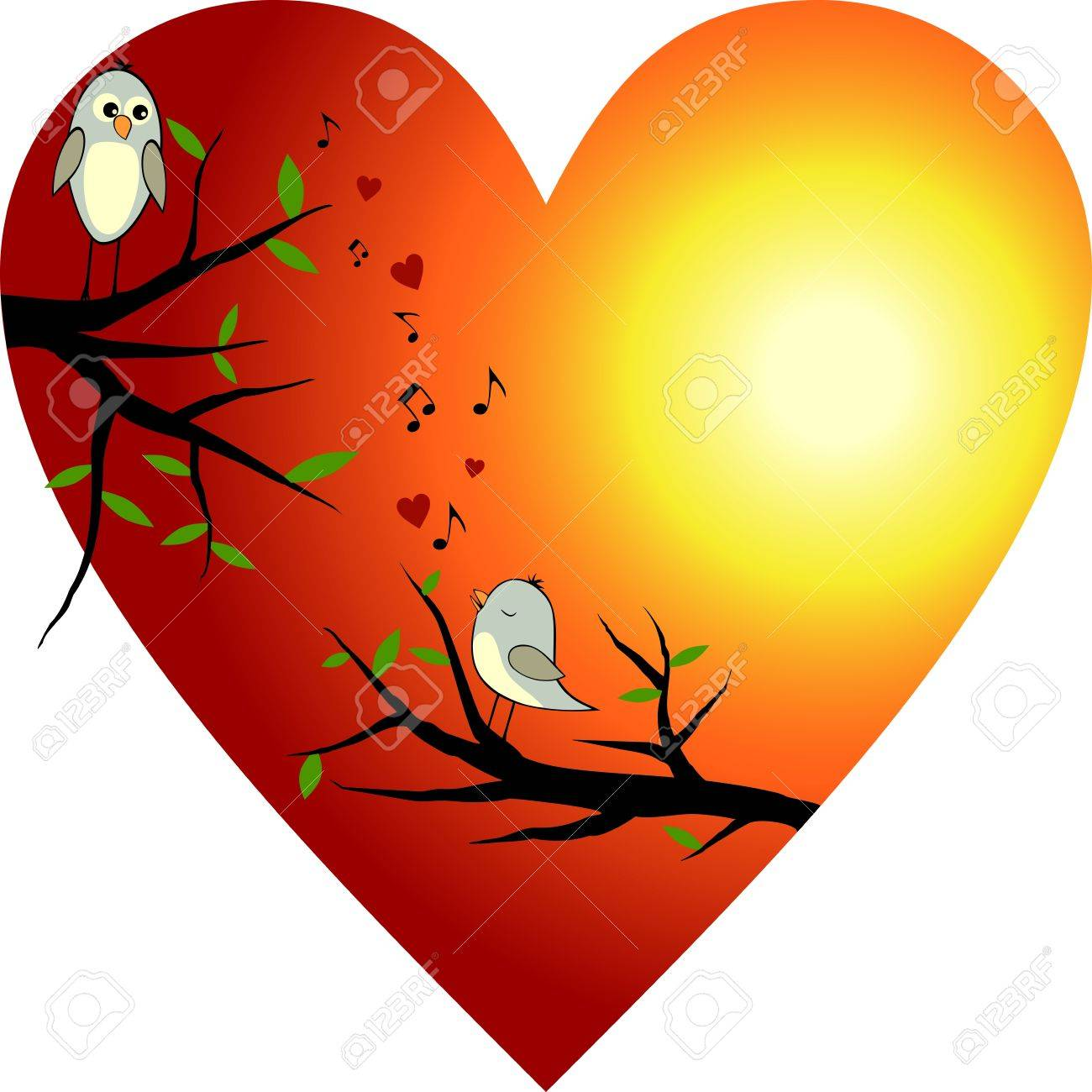 Two Birds Heart Red Heart With Two Birds