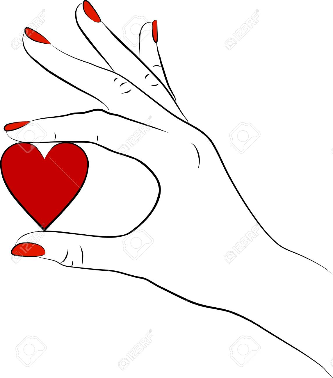 woman hand with a red heart Stock Photo - 12418414