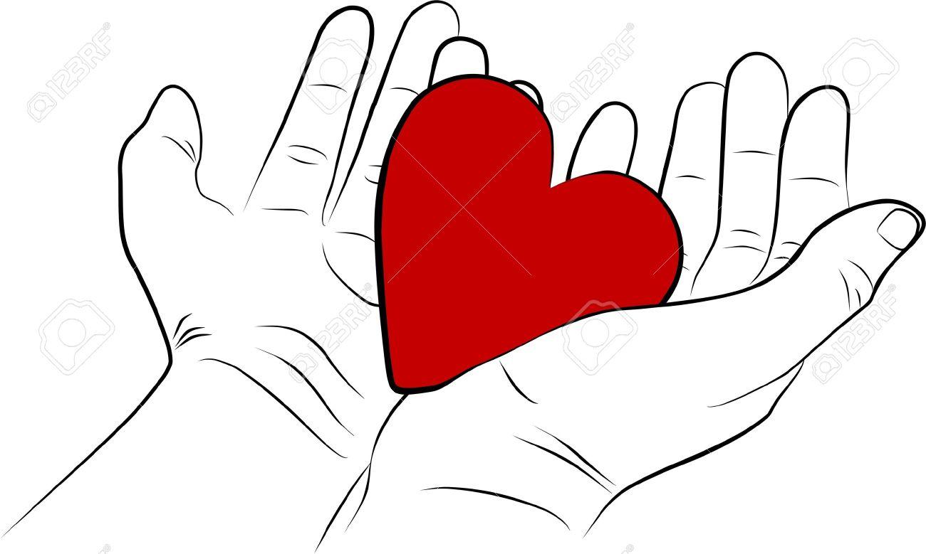 Ouvrez Mains De L Homme Avec Un Coeur Rouge à Main Levée
