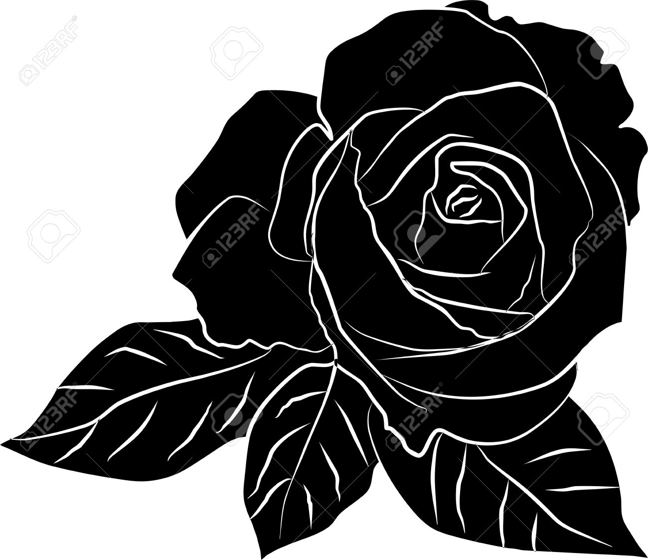 cadb891a3 black rose silhouette - freehand, vector illustration Stock Vector -  12917572