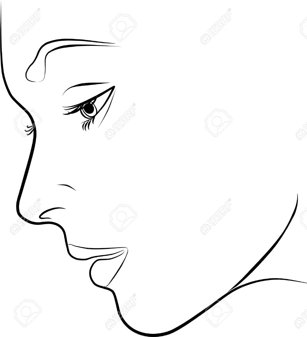 Belle Jeune Femme Profil A Main Levee Sur Un Fond Blanc