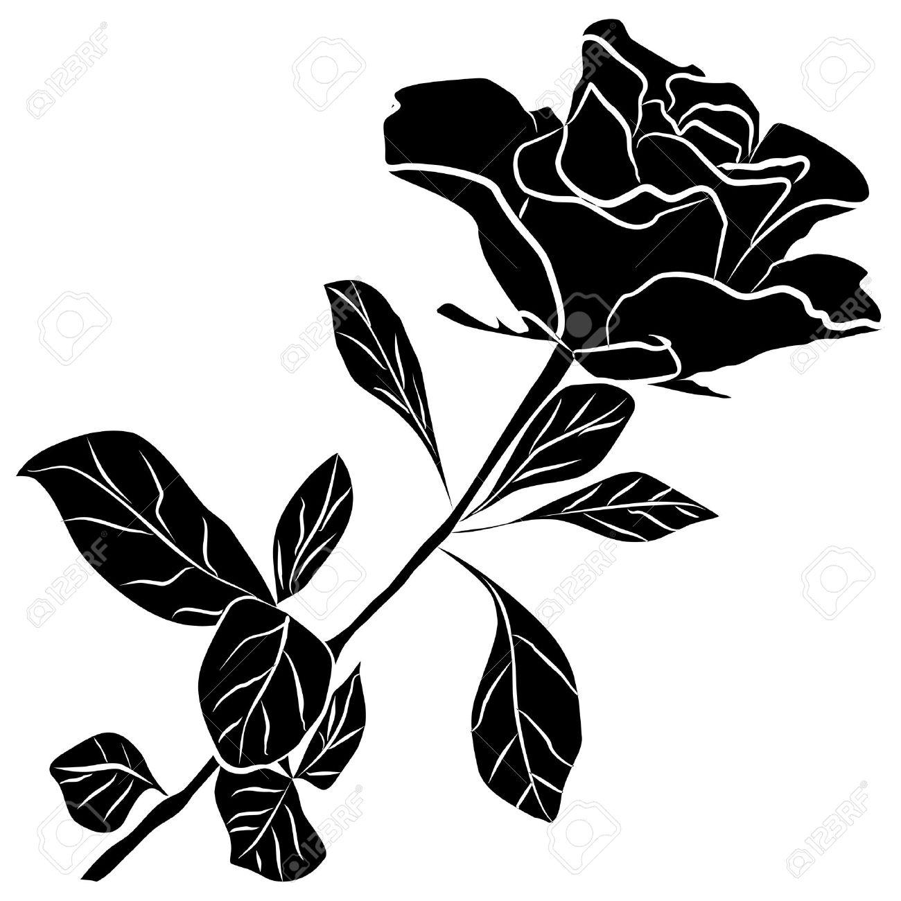 Rose Noire Silhouette A Main Levee Sur Un Fond Blanc Illustration