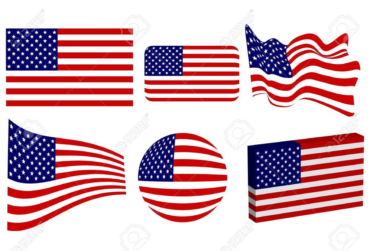American Flag Set Stock Vector - 9919661