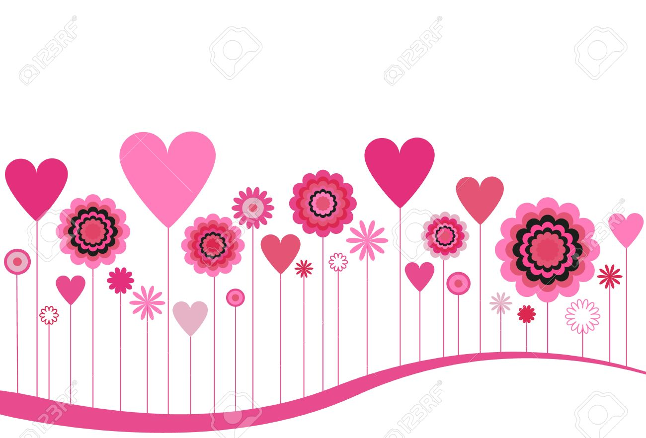 Clip Art Line Of Hearts : Blooming flowers and hearts in pink royalty free cliparts vectors