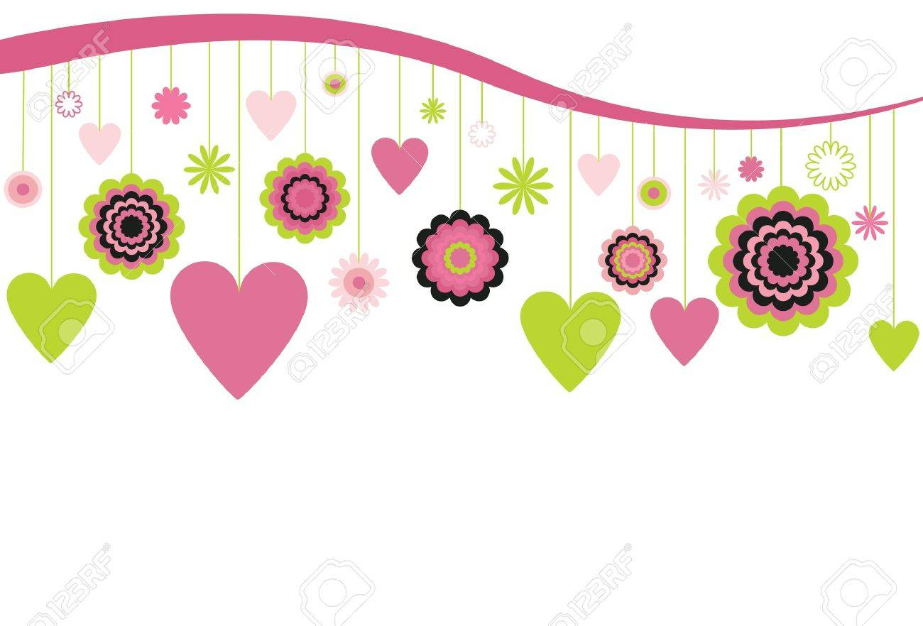 Hanging Flowers and Hearts Stock Vector - 9919309