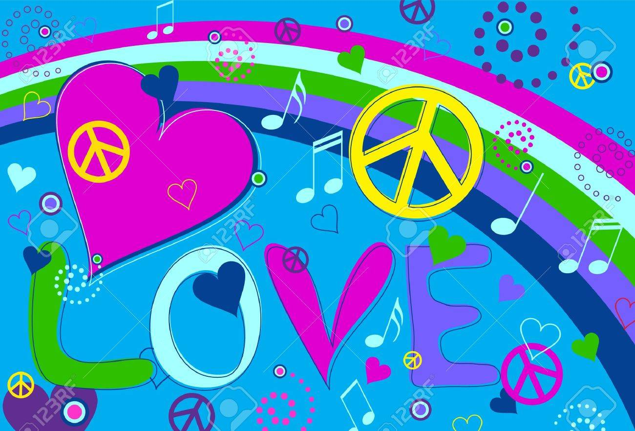 Love Peace and Hearts Stock Vector - 9917661