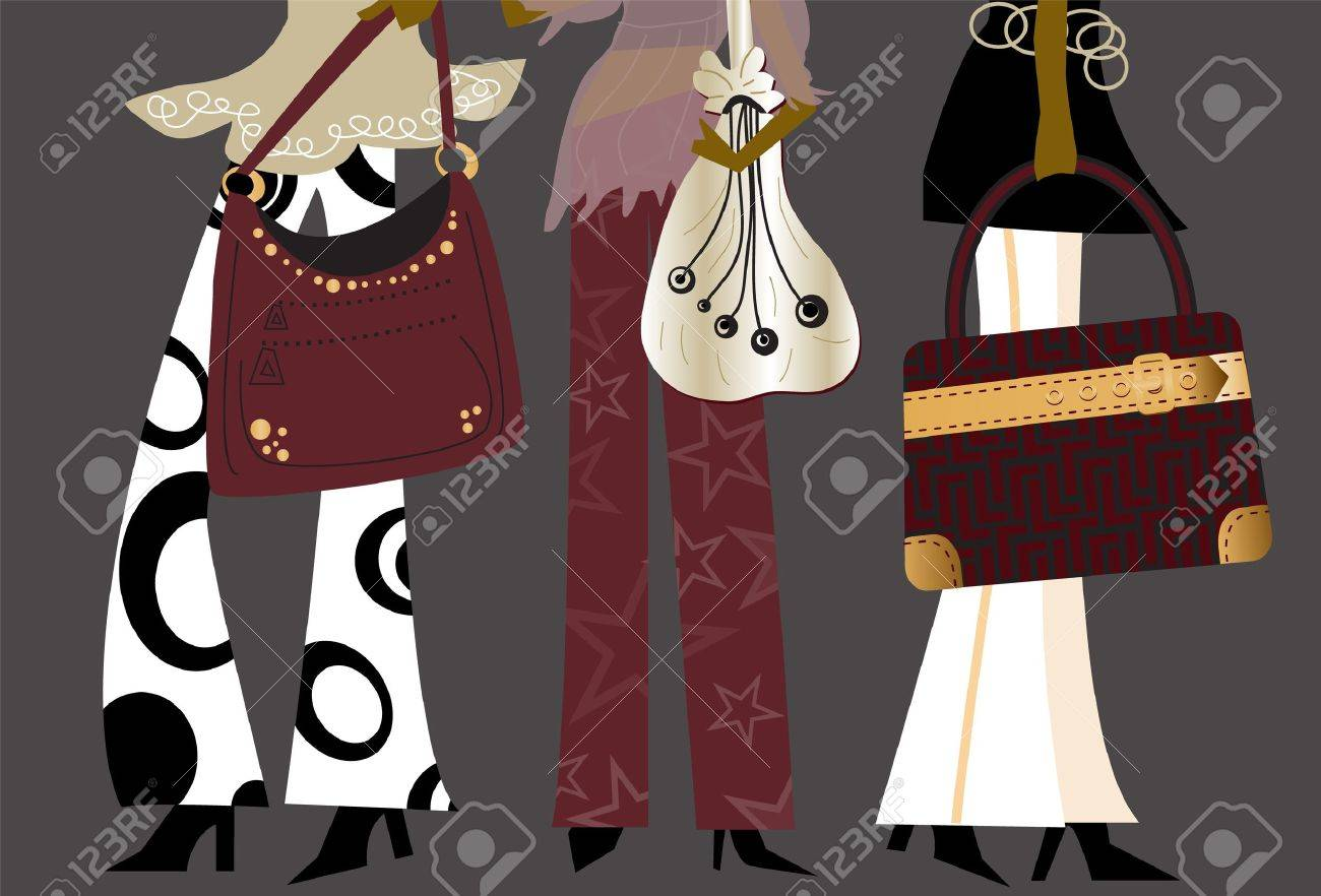 Fashion Girls - Working women in fashionable clothes with purses Stock Vector - 10543570