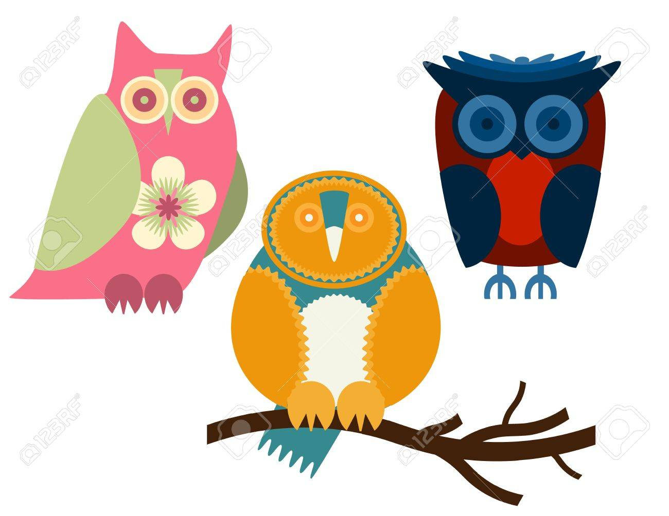 Owls - Set of three owls in different colors