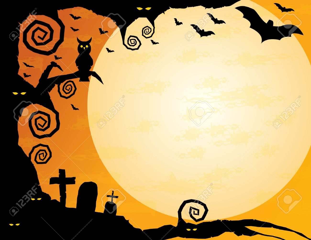 halloween background gnarled tree with owl spooky eyes flying