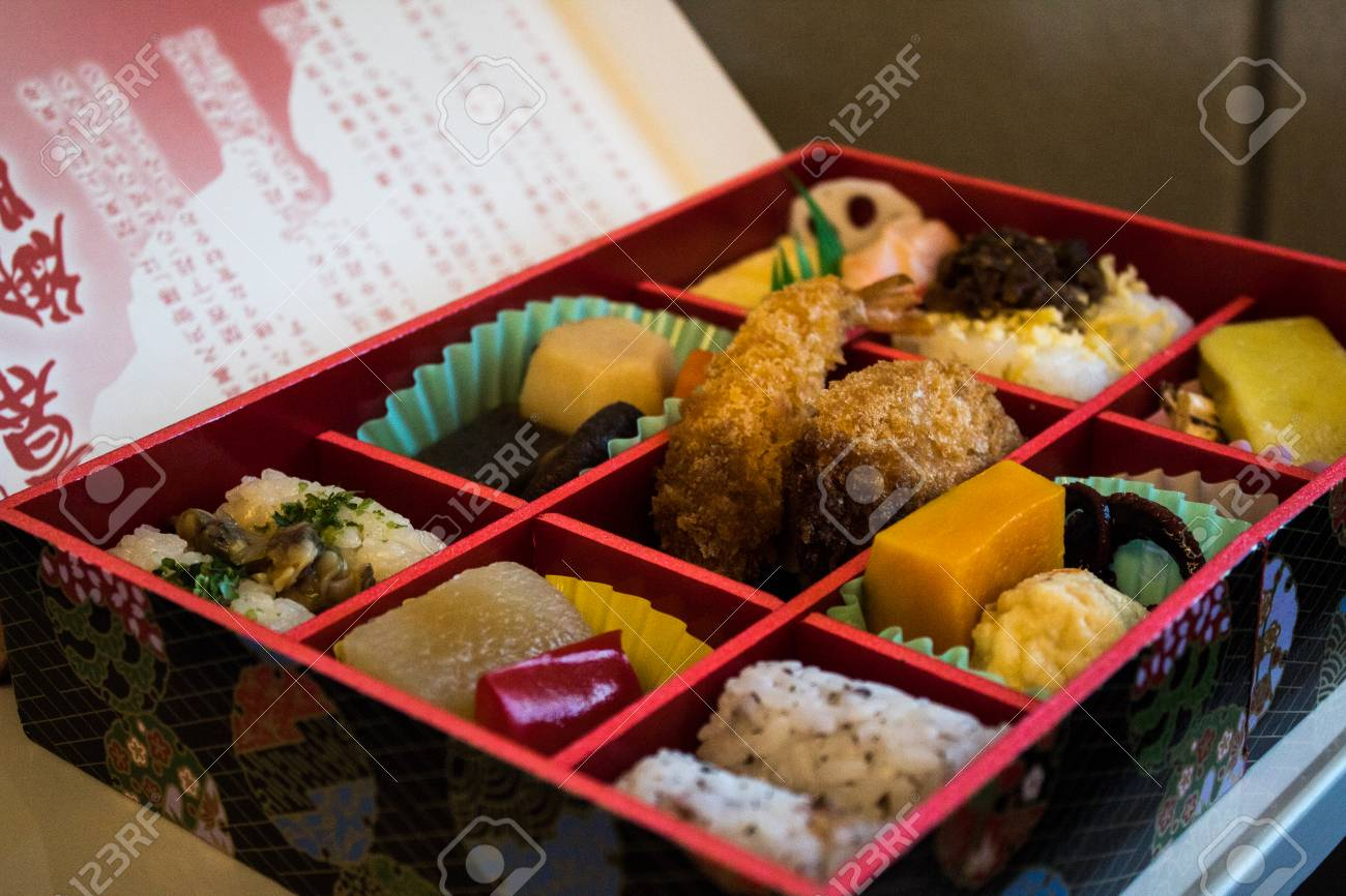 Japanese Bento box served on bullet train in Japan