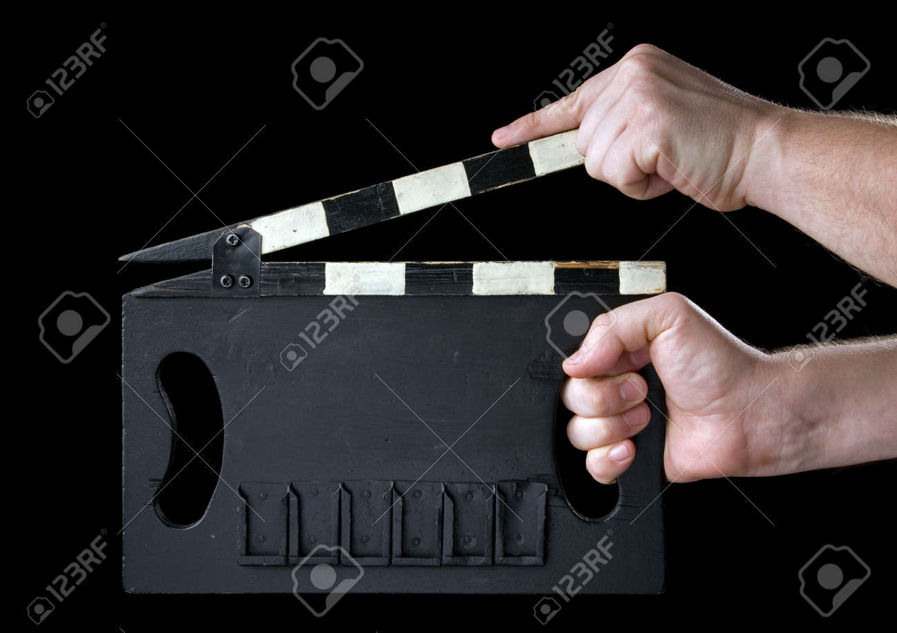 Cinema clapboard. It is isolated on a black background. Stock Photo - 2526348