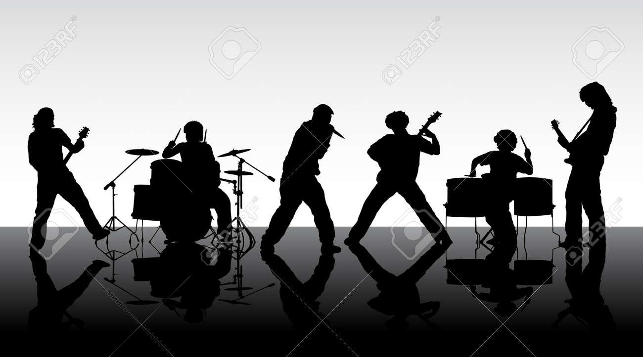ロック バンド6 人のミュージシャンのシルエットベクトル
