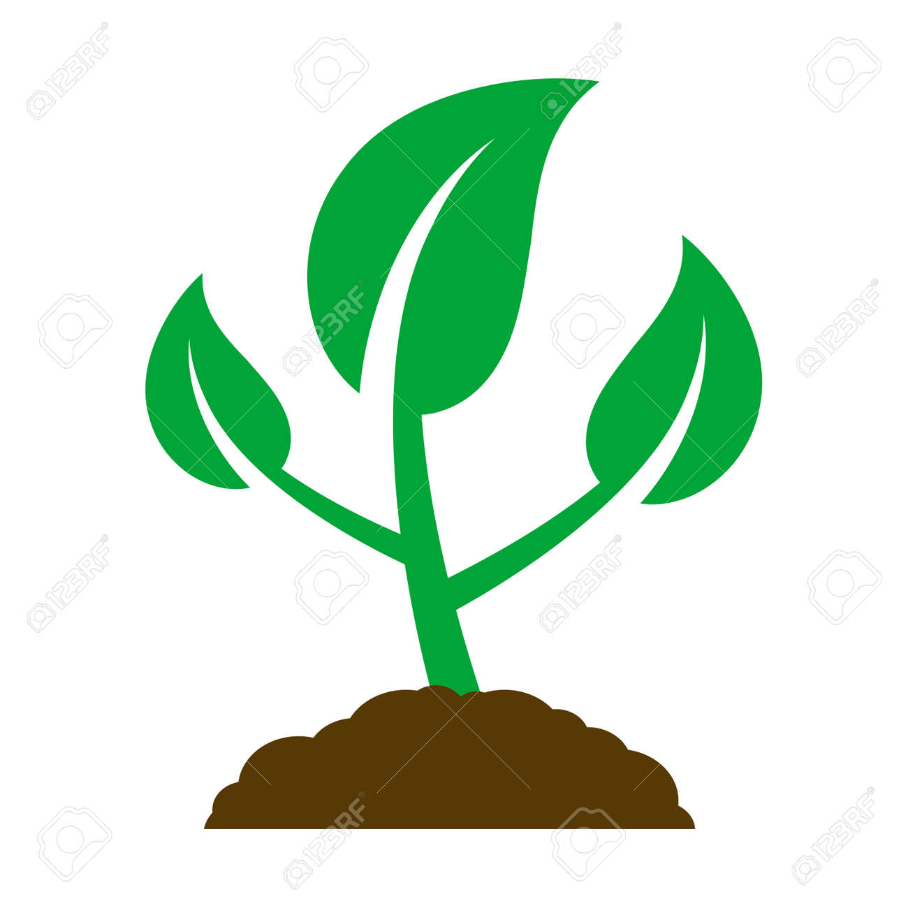 Icon of a young plant. Vector Illustration. - 122897913