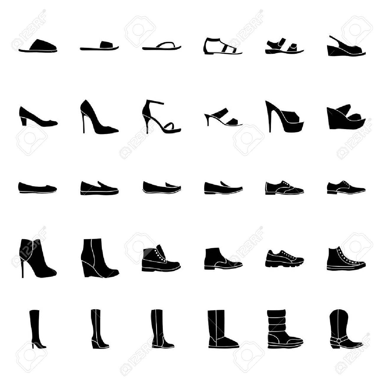 Set of men's and women's shoes icons, black silhouette - 53075608