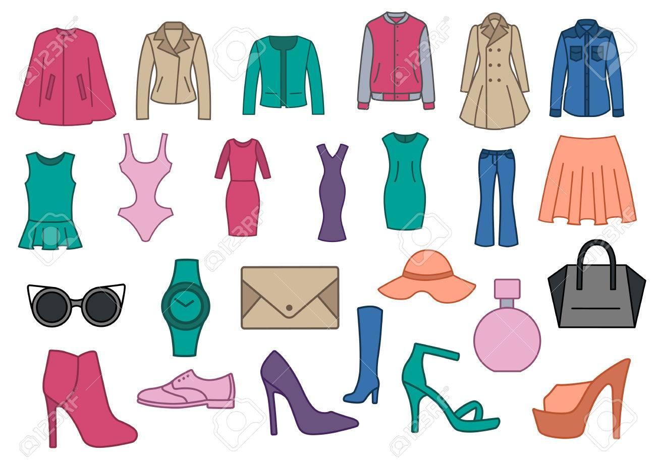 sur des pieds à Meilleure vente Nouvelle liste Lot de vêtements de mode. Les vêtements, chaussures et accessoires sur un  fond blanc