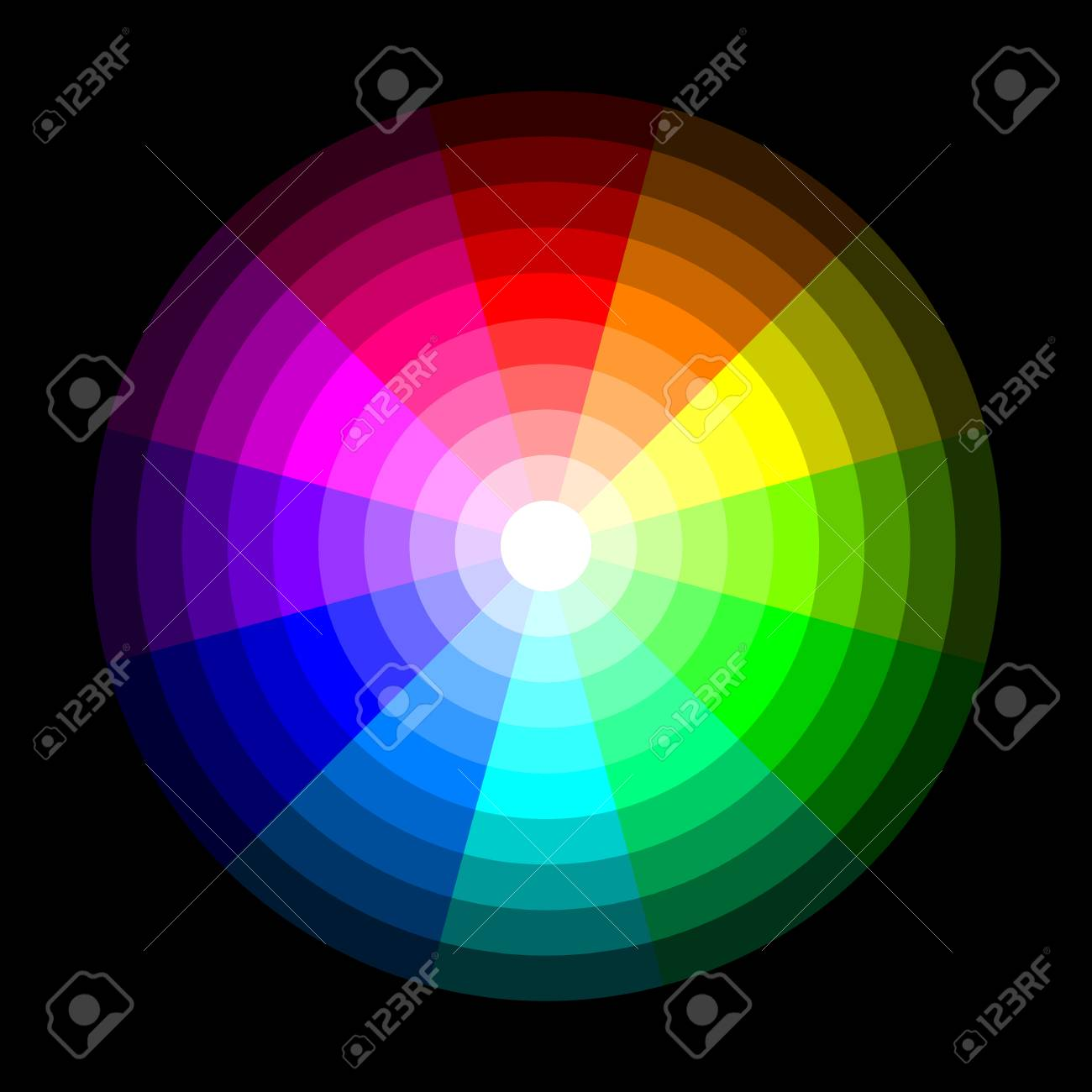 Rgb Color Wheel From Dark To Light On Black Background Vector