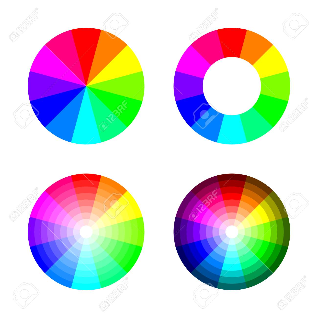 Set Of Color Wheel 12 Rgb On White Background Stock Vector