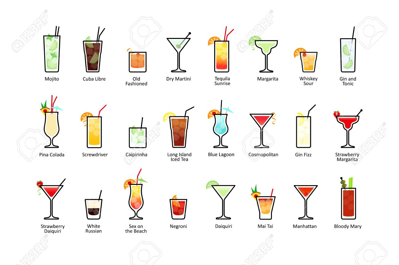 Popular alcoholic cocktails with titles, icons set in flat style on white background. Vector - 79566495