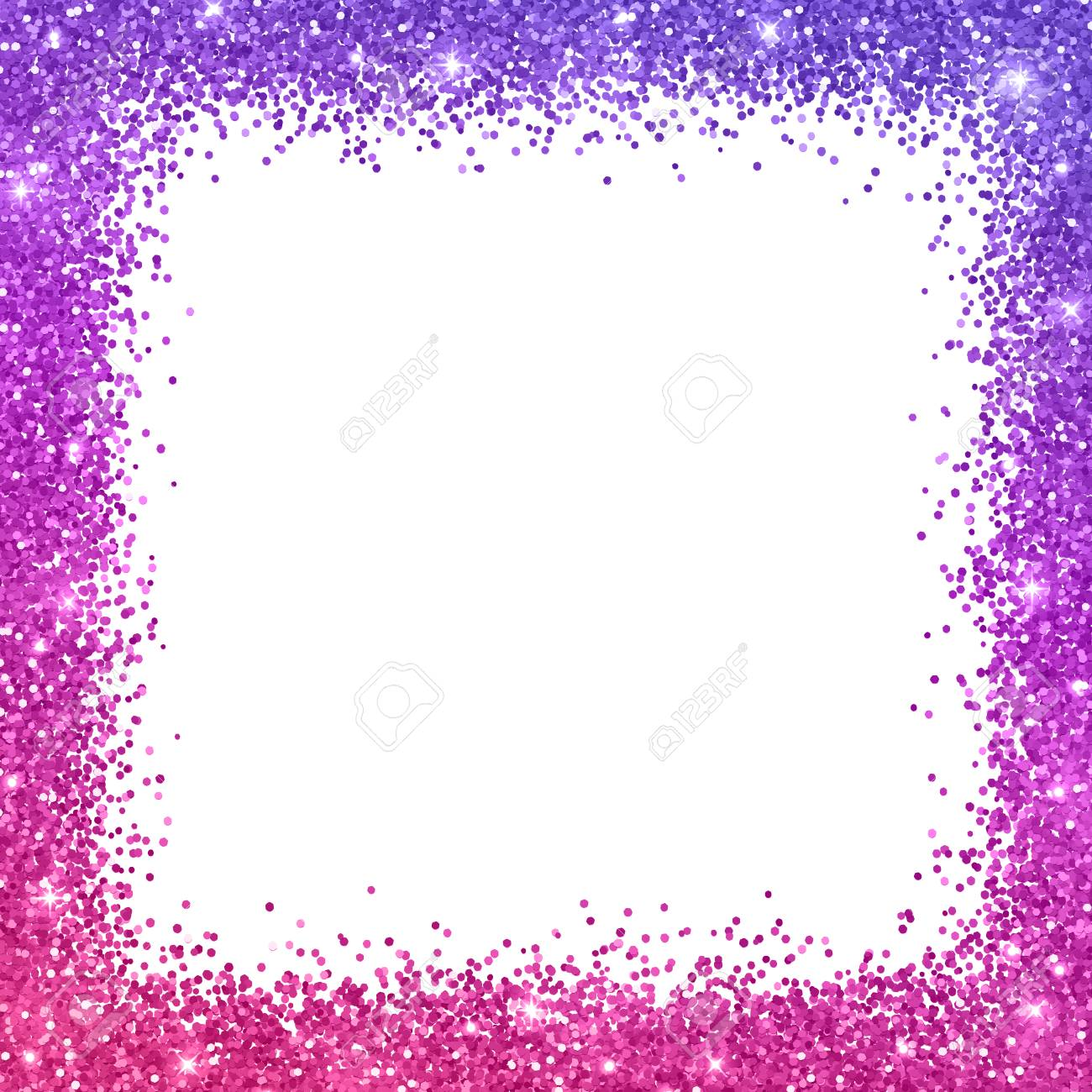 Glitter Square Border Frame With Purple Pink Color Effect On