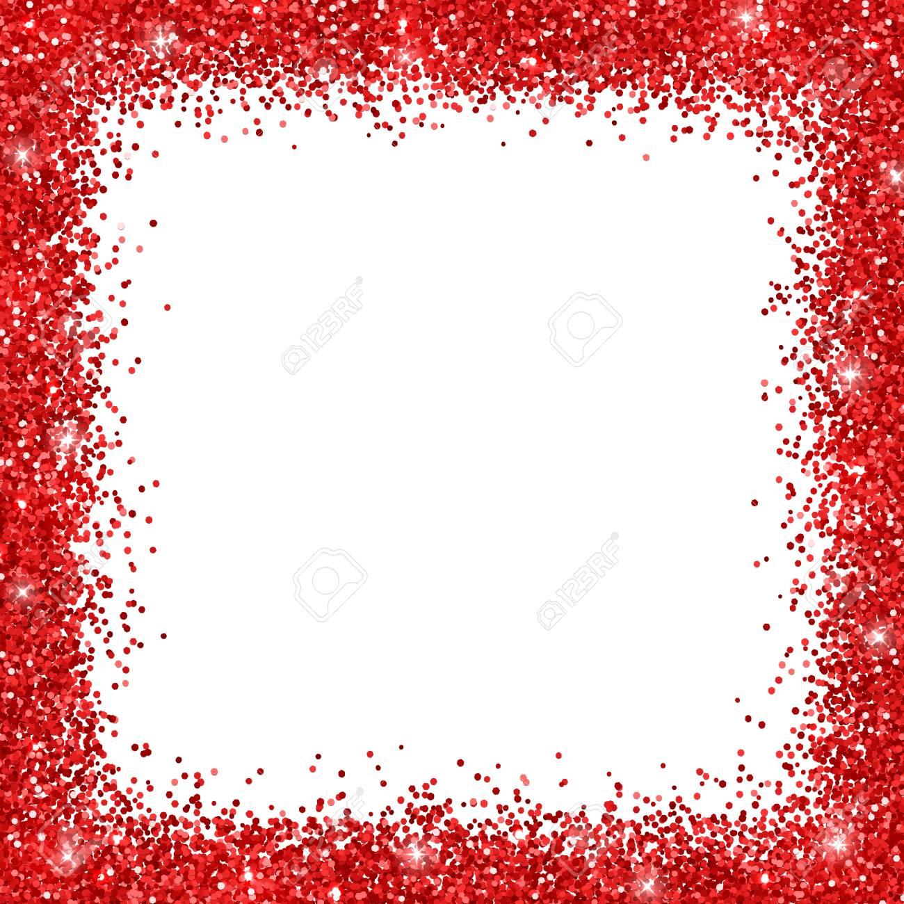 red border frame glitter on white background vector illustration