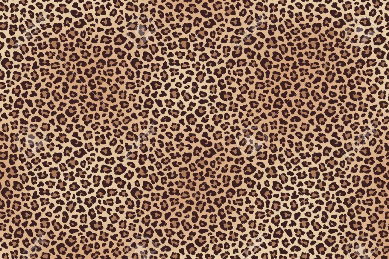 Leopard fur horizontal texture seamless pattern. - 97992756