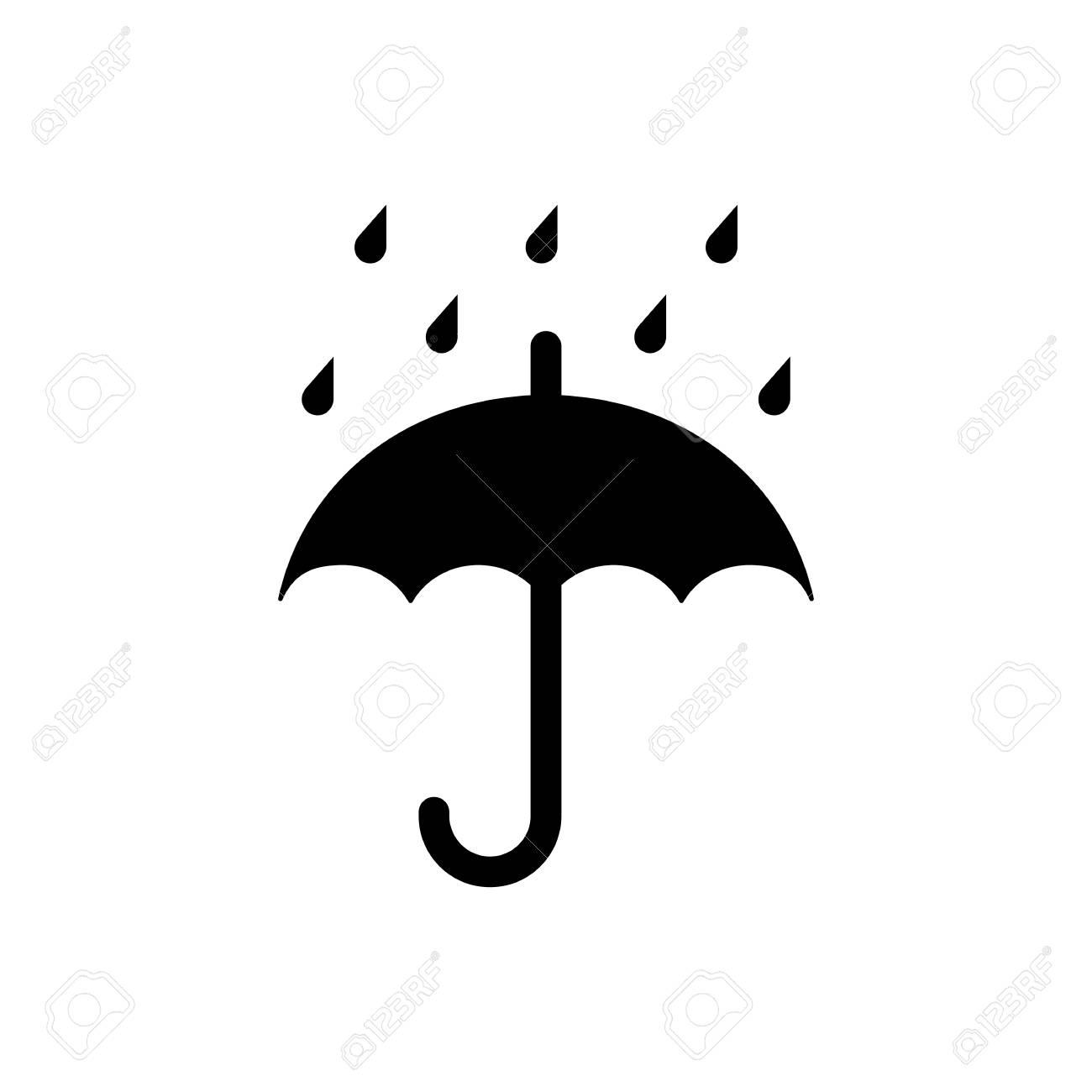 Keep dry packaging symbol, umbrella and raindrops. Vector illustration - 99466976