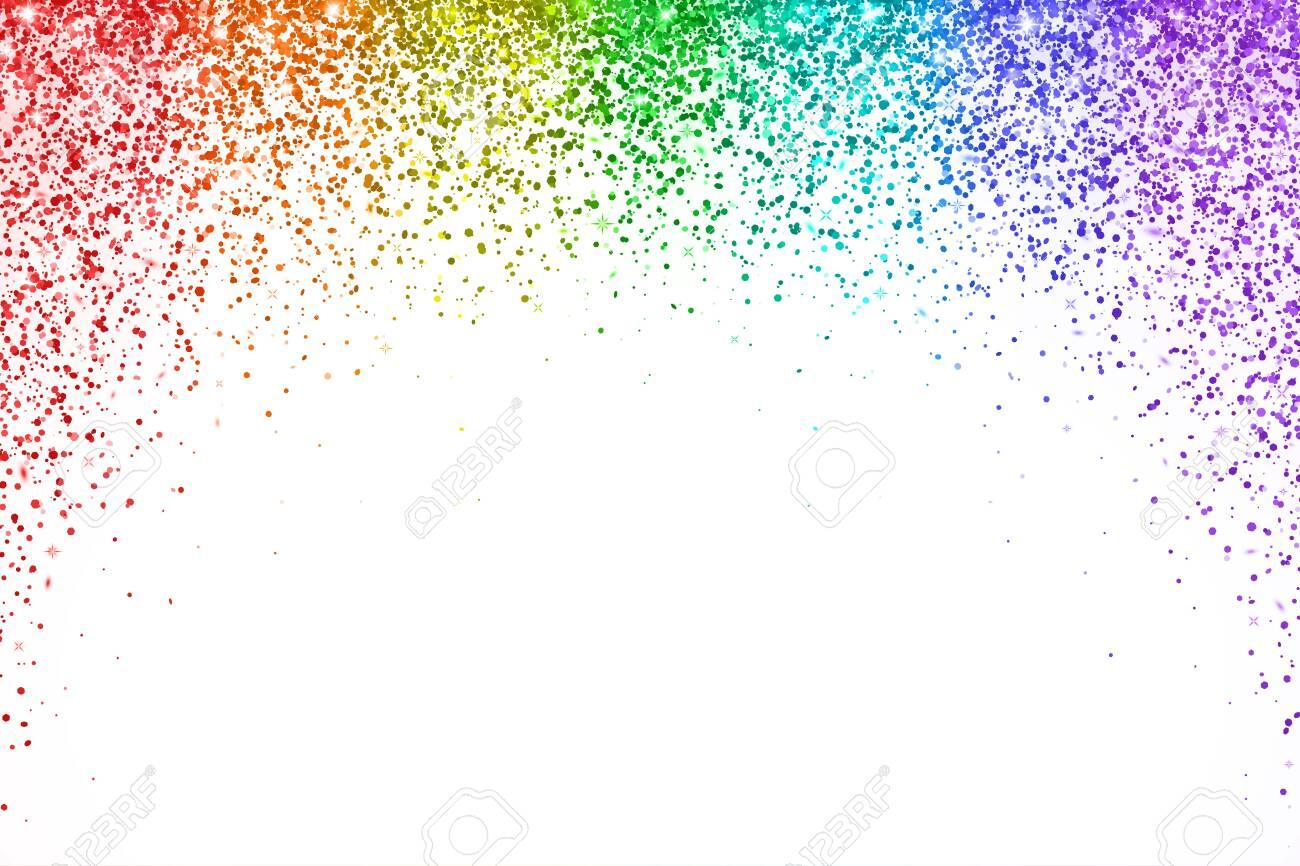 Rainbow falling confetti on white background, arch shape. Vector illustration - 124315183