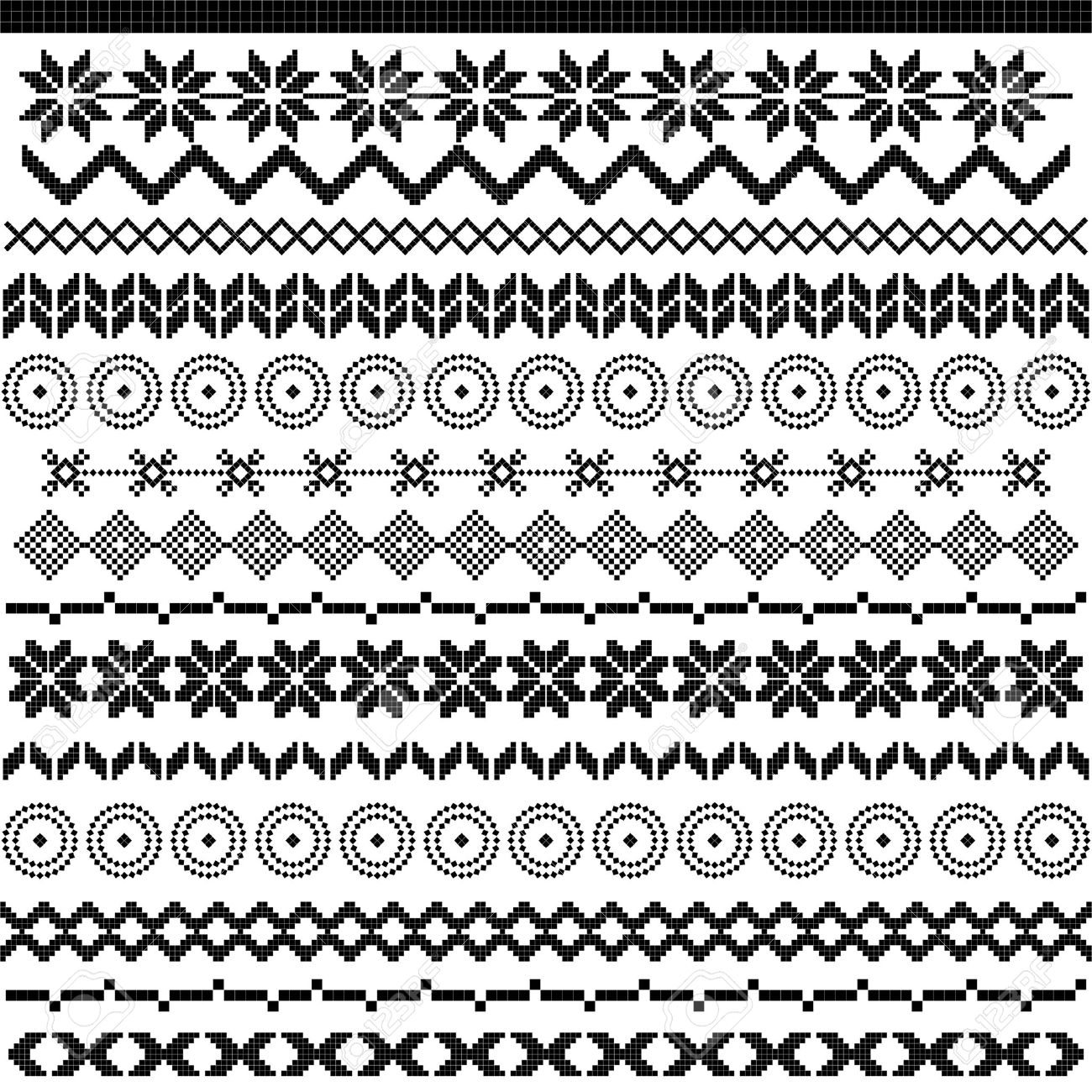 Ethnic pattern motifs black and white stock vector 16654849