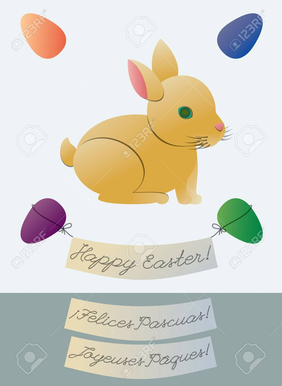 Cute Easter Bunny Greeting Card With Two Alternate Language