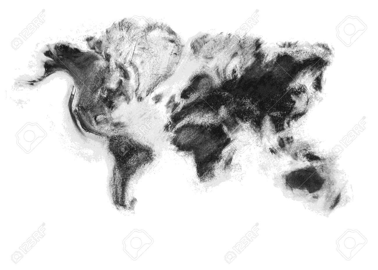 Charcoal artistic vector world map the monochrome hand made charcoal artistic vector world map the monochrome hand made design provides a fresh look over gumiabroncs Choice Image