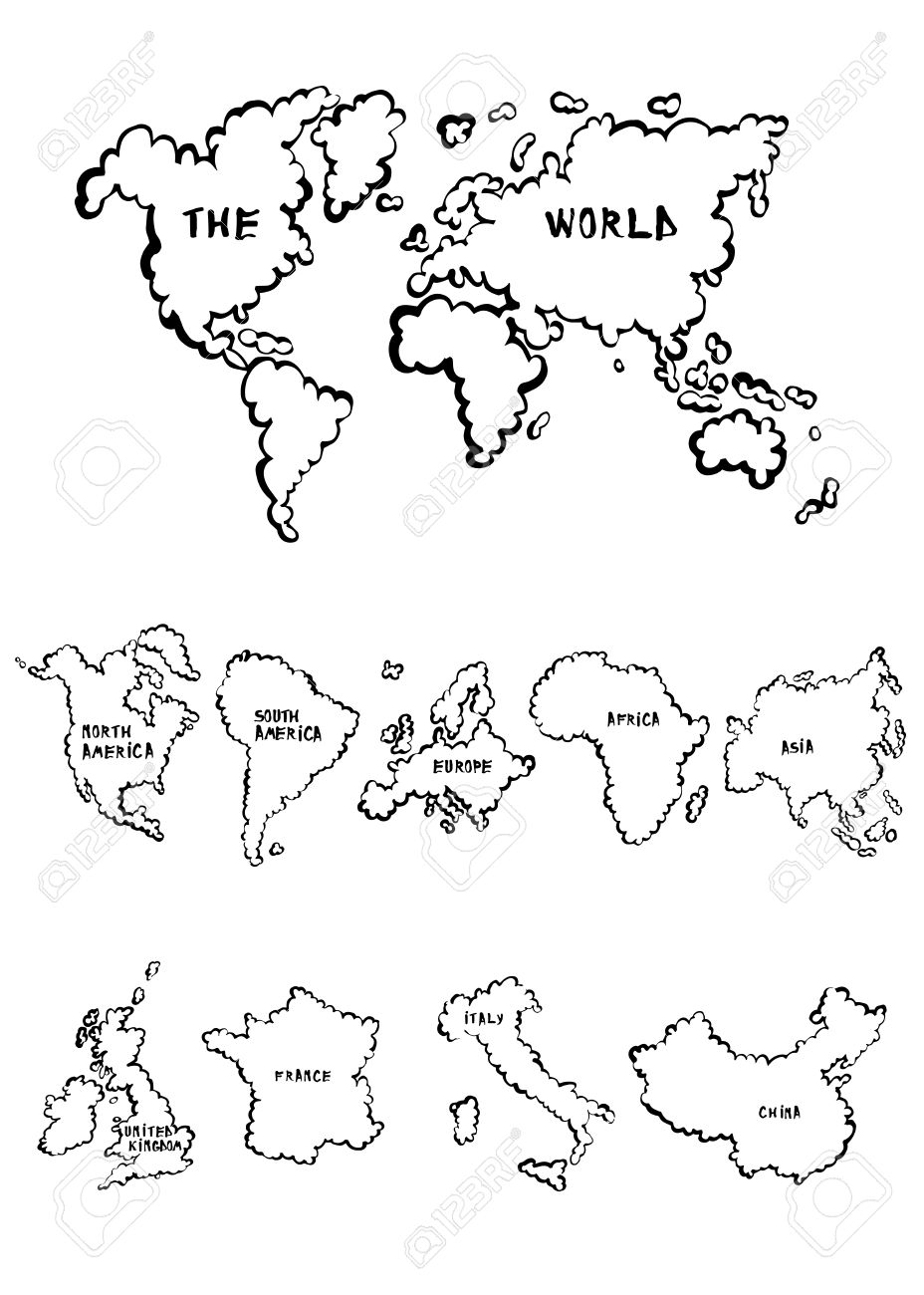 Dibujo Mapa Del Mundo Continentes.Mapas De Dibujos Animados De Recogida Que Incluyen Un Mapa Del Mundo Una Seleccion De Los Continentes Y Paises