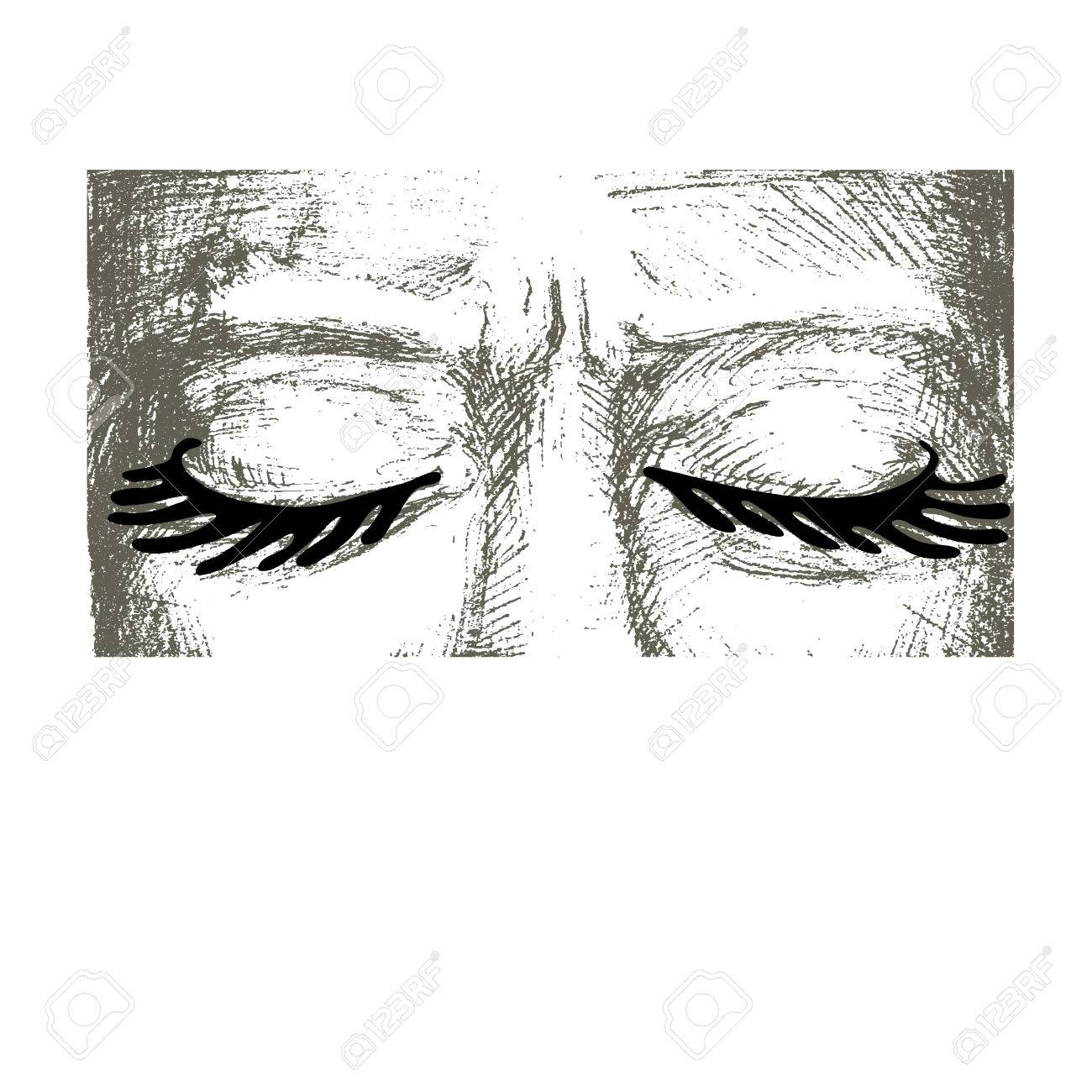 Woman Eyes Closed Are Hand Drawn She Has Very Intense Eyelashes