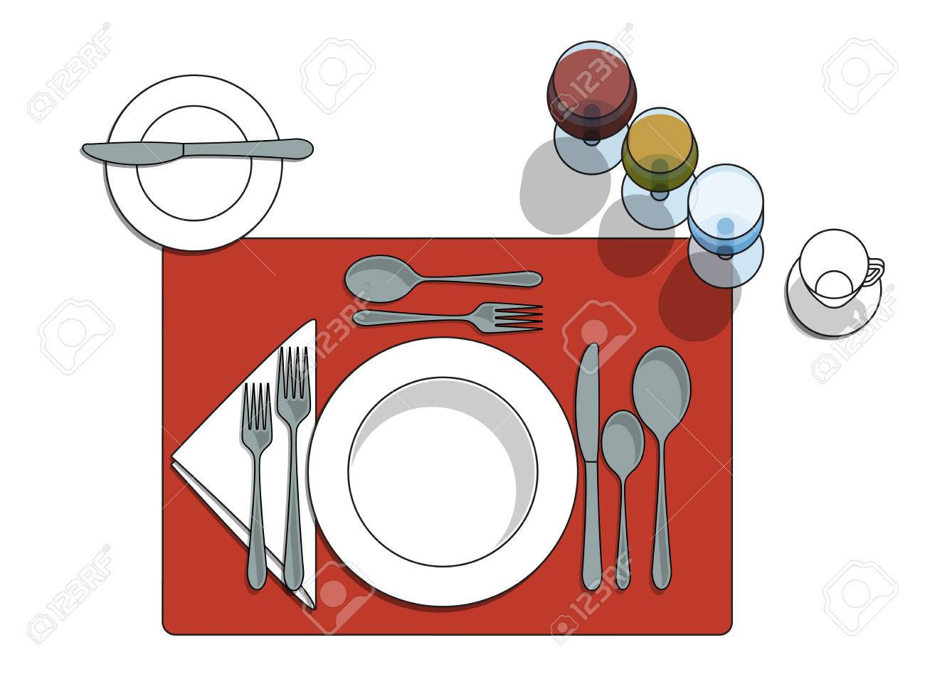 Table setting diagram with eating utensils cups placemat Stock Vector - 74818789  sc 1 st  123RF.com & Table Setting Diagram With Eating Utensils Cups Placemat Royalty ...
