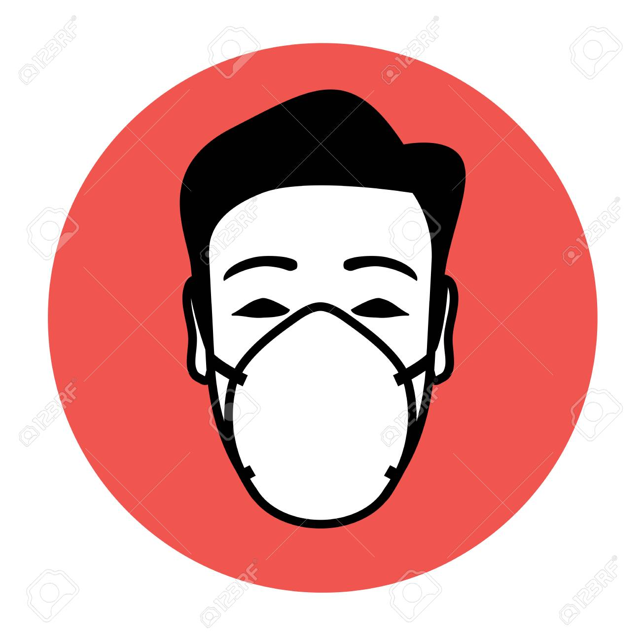 Protective mask wearing icon with potential of warning and advising - 91126472