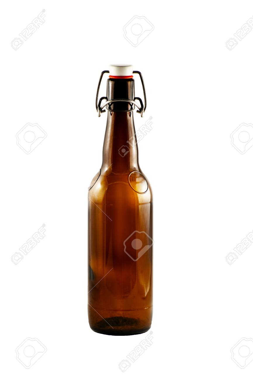 Old brown bottle of beer with cork stopper isolated on white