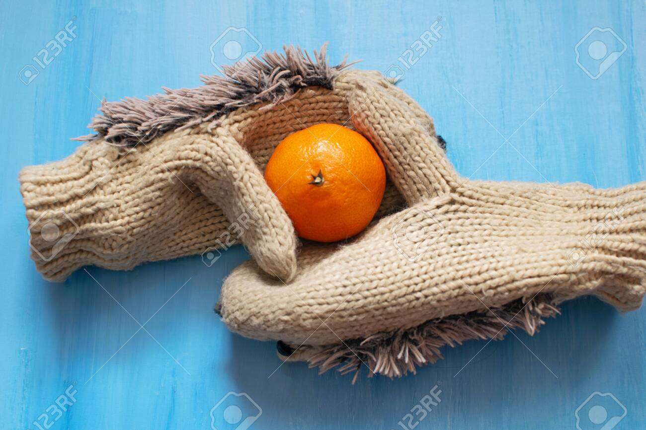 Clementine For Christmas.Christmas Cozy Composition With Orange Clementine And Fluffy