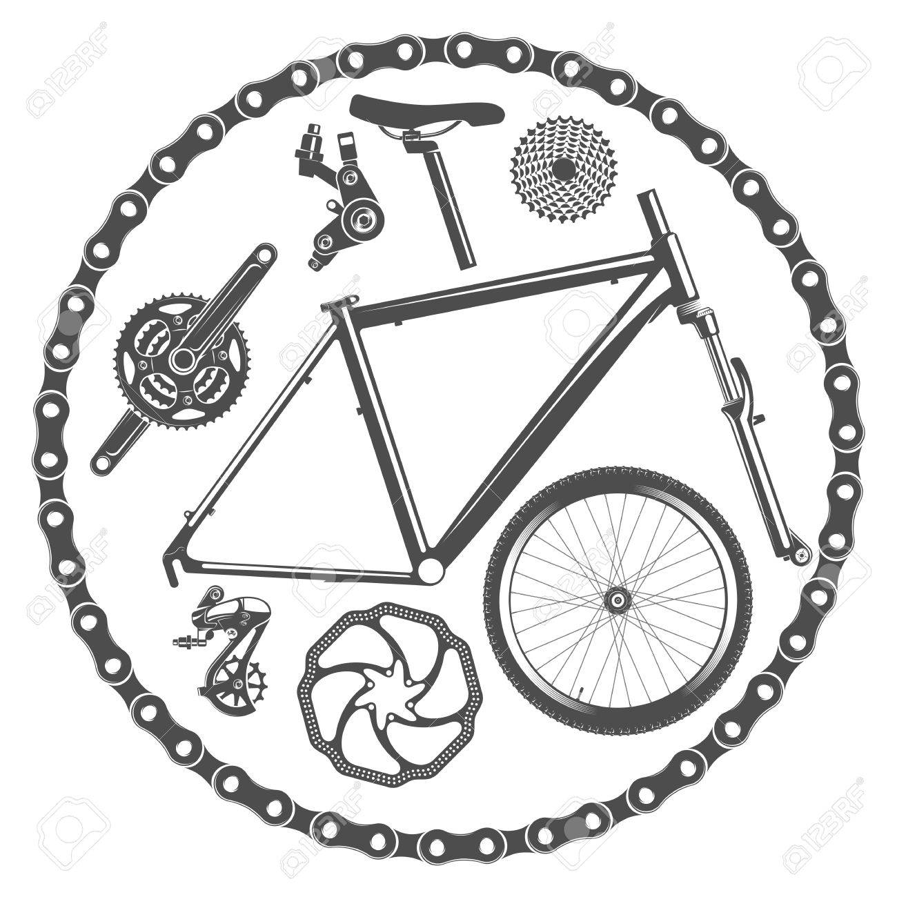 Illustration Bicycle Parts In Vintage Style Royalty Free Cliparts