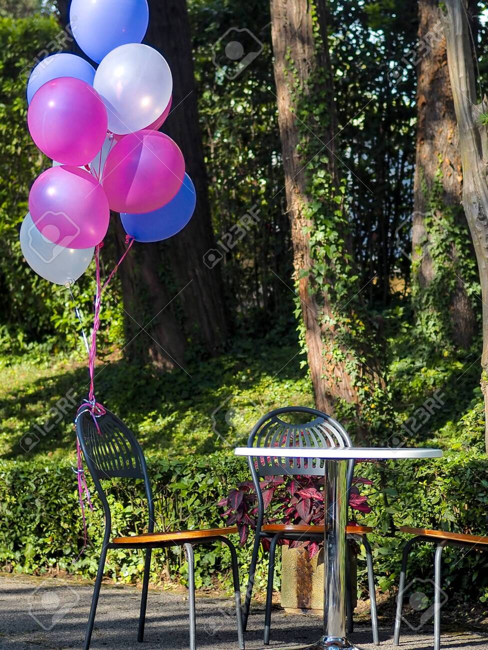 Outdoor Party Decoration Concept Mix Of Colorful Balloons On Stock Photo Picture And Royalty Free Image Image 111417498