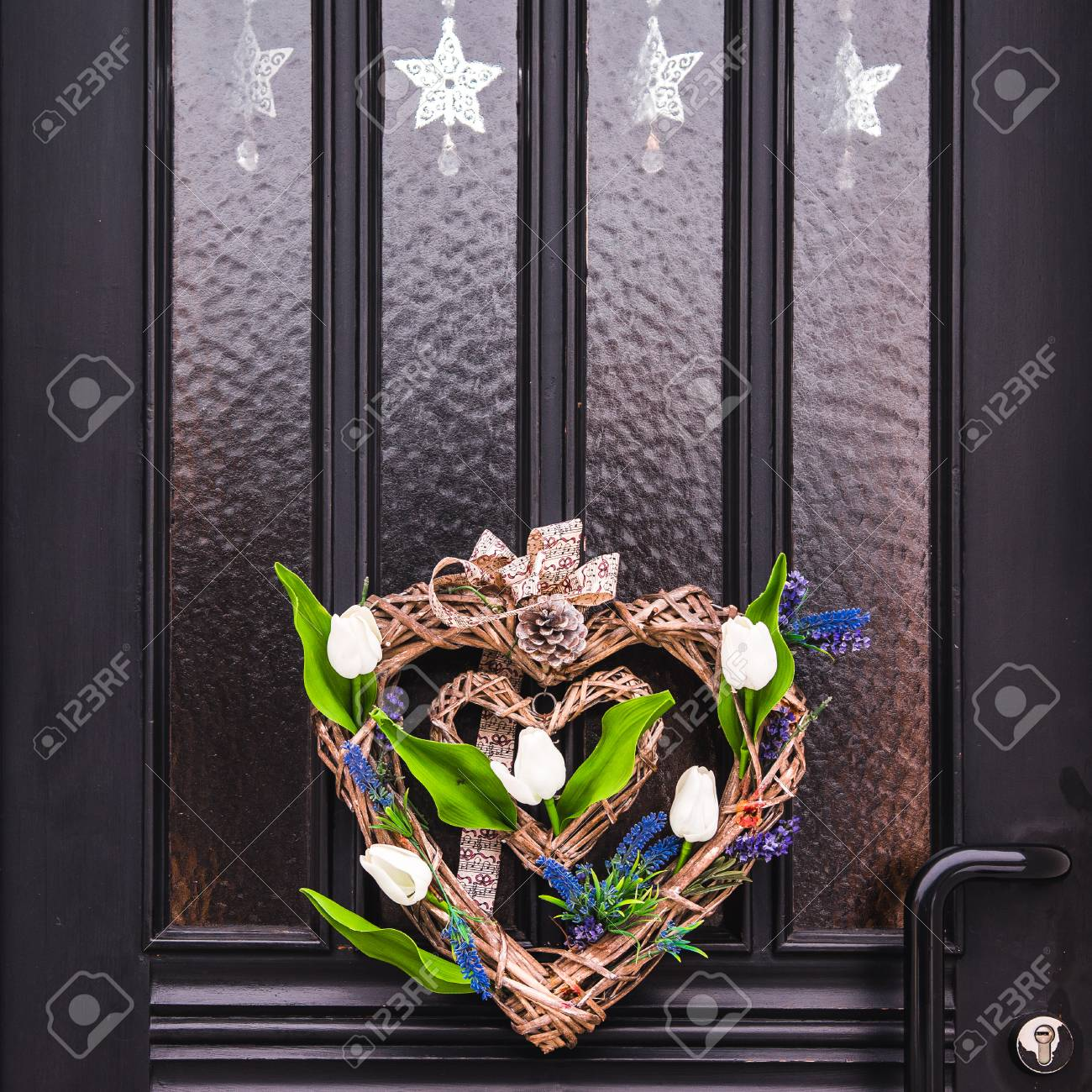 Home Entrance With Decorative Wreath On Front Door Essen Germany Stock Photo Picture And Royalty Free Image Image 117516847