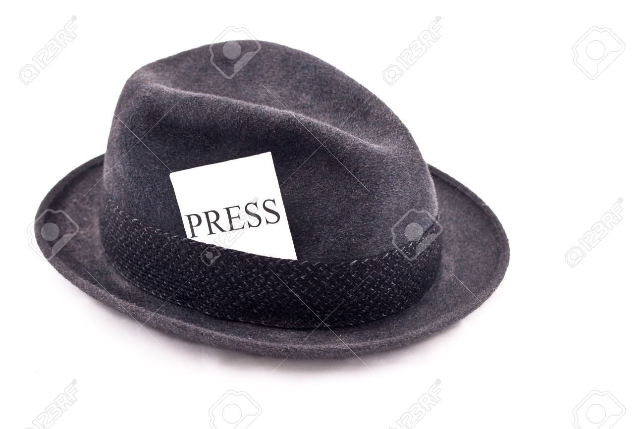 05c3ceb09f328 An Old Fedora Felt Hat With Press Card Stock Photo, Picture And ...
