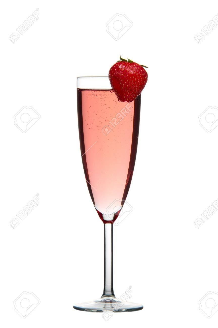 Sparkling red champagne drink with Strawberry isolated on white background Stock Photo - 9319028