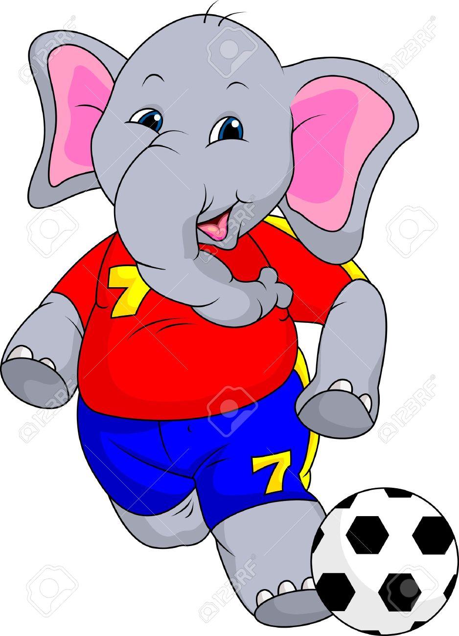 fuuny elephant cartoon with ball royalty free cliparts vectors